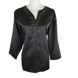 NEW DIRECTIONS Black Blouse, Crinkly, Size XL, NWT